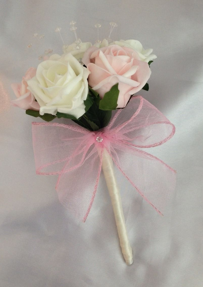 Artificial Wedding Bouquets.Artificial Wedding Flowers Pink Ivory Flower Girl Bridesmaid Bouquet Foam Roses